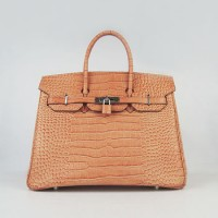 Hermes Birkin 35Cm Crocodile Stripe Handbags Orange Silver