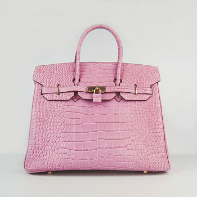 b6864e27eb Replica Hermes Birkin 35cm Crocodile Stripe Handbags Pink Gold