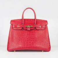 Hermes Birkin 35Cm Crocodile Stripe Handbags Red Gold