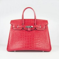 Hermes Birkin 35Cm Crocodile Stripe Handbags Red Silver