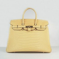 Hermes Birkin 35Cm Crocodile Stripe Handbags Yellow Gold