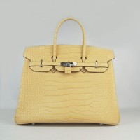 Hermes Birkin 35Cm Crocodile Stripe Handbags Yellow Silver