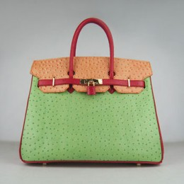 Hermes Birkin 35Cm Ostrich Stripe Handbags Red/Orange/Green Gold