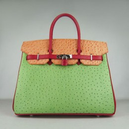 Hermes Birkin 35Cm Ostrich Stripe Handbags Red/Orange/Green Silver