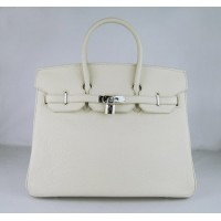 Hermes Birkin 35Cm Togo Leather Handbags Beige Silver