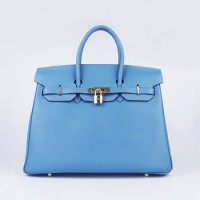 Hermes Birkin 35Cm Togo Leather Handbags Blue Gold