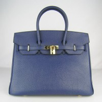 Hermes Birkin 35Cm Togo Leather Handbags Dark Blue Gold