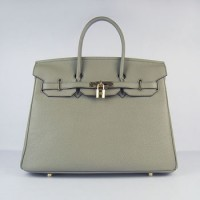 Hermes Birkin 35Cm Togo Leather Handbags Dark Grey Gold