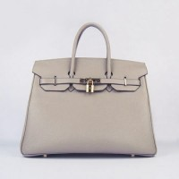 Hermes Birkin 35Cm Togo Leather Handbags Grey Gold