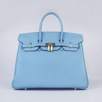 Hermes Birkin 35Cm Togo Leather Handbags Light Blue Gold