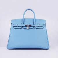 Hermes Birkin 35Cm Togo Leather Handbags Light Blue Silver