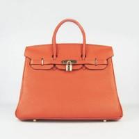 Hermes Birkin 35Cm Togo Leather Handbags Orange Gold