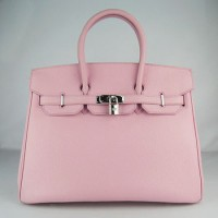 Hermes Birkin 35Cm Togo Leather Handbags Pink Silver