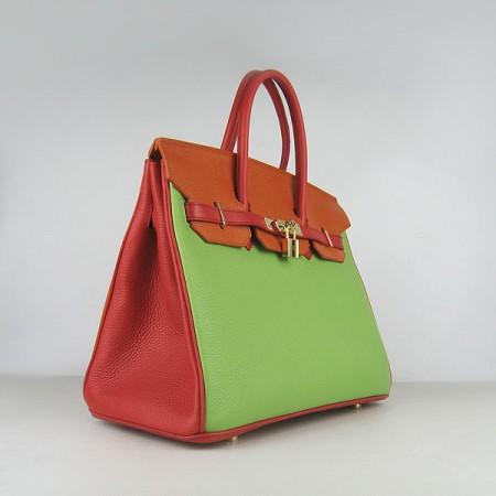 a62168813d Hermes Birkin 35cm Togo Leather Handbag Red Orange Green Gold For Sale