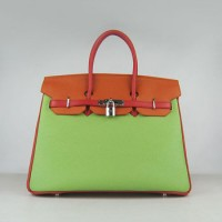 Hermes Birkin 35Cm Togo Leather Handbags Red/Orange/Green Silver