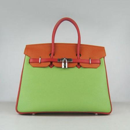 4393f179a4 Hermes Birkin 35cm Togo Leather Handbag Red Orange Green Silver For Sale