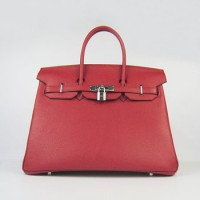 Hermes Birkin 35Cm Togo Leather Handbags Red Silver