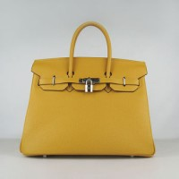 Hermes Birkin 35Cm Togo Leather Handbags Yellow Silver