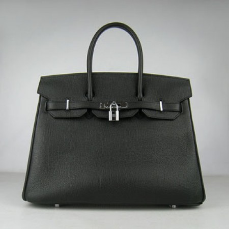 Hermes Birkin 35Cm Cattle Skin Stripe Handbags Black Silver