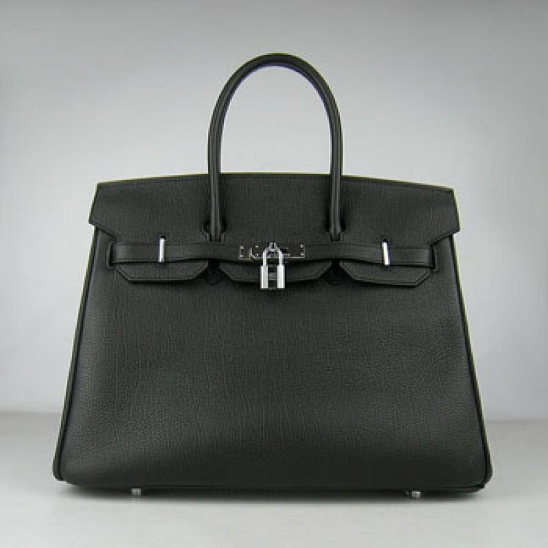 9300fcb932b Hermes Birkin 35cm Cattle Skin Stripe Handbags Black Silver For Sale