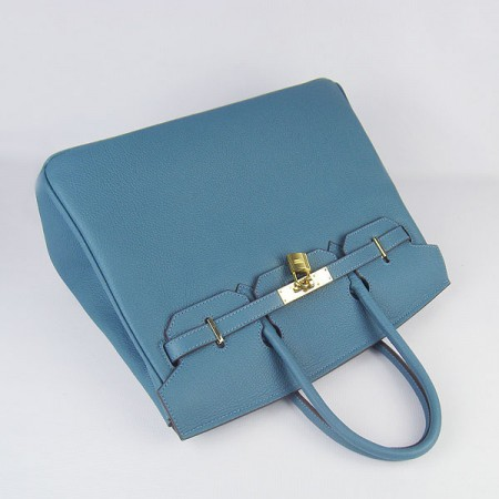 Hermes Birkin 35Cm Cattle Skin Stripe Handbags Blue Gold