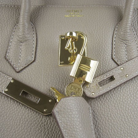 Hermes Birkin 35Cm Cattle Skin Stripe Handbags Khaki Gold