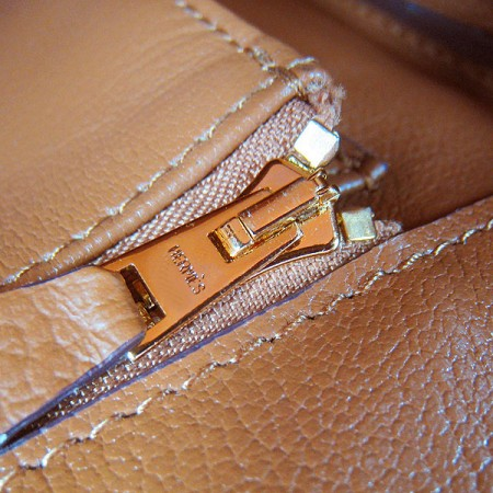 f7bb0da3f98 Hermes Birkin 35cm Cattle Skin Stripe Handbags Light Coffee Gold For ...