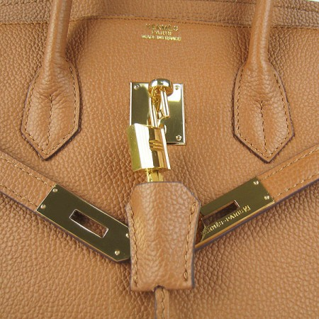 Hermes Birkin 35Cm Cattle Skin Stripe Handbags Light Coffee Gold