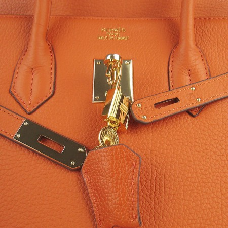 2d50286c73f Hermes Birkin 35cm Cattle Skin Stripe Handbags Orange Gold For Sale