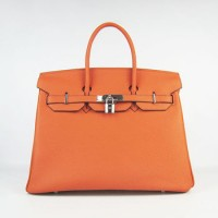 Hermes Birkin 35Cm Cattle Skin Stripe Handbags Orange Silver