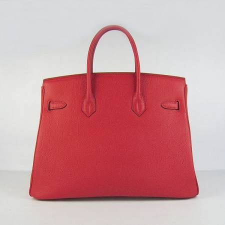 Hermes Birkin 35Cm Cattle Skin Stripe Handbags Red Gold