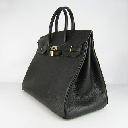 Hermes Birkin 40Cm Togo Leather Handbags Black Gold