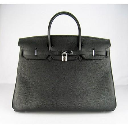 d8449acc9ee2 Hermes Birkin 40Cm Togo Leather Handbags Black Silver ...