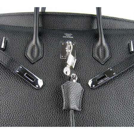 Hermes Birkin 40cm Togo Leather Handbags Black Silver