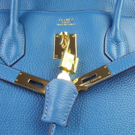 Hermes Birkin 40Cm Togo Leather Handbags Blue Gold