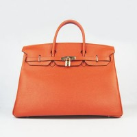 Hermes Birkin 40Cm Togo Leather Handbags Orange Gold