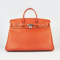 Hermes Birkin 40Cm Togo Leather Handbags Orange Silver