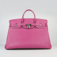Hermes Birkin 40Cm Togo Leather Handbags Peach Silver