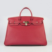 Hermes Birkin 40Cm Togo Leather Handbags Red Gold
