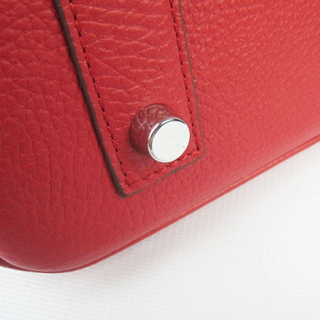Hermes Birkin 40Cm Togo Leather Handbags Red Silver