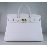 Hermes Birkin 40Cm Togo Leather Handbags White Gold