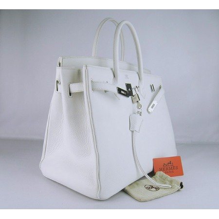8d89db5624 ... Hermes Birkin 40Cm Togo Leather Handbags White Silver ...