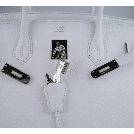 Hermes Birkin 40Cm Togo Leather Handbags White Silver