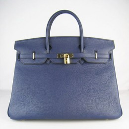 Hermes Birkin 40Cm Togo Leather Handbags Dark Blue Gold