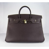 Hermes Birkin 40Cm Togo Leather Handbags Dark Coffee Gold