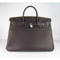 Hermes Birkin 40Cm Togo Leather Handbags Dark Coffee Silver