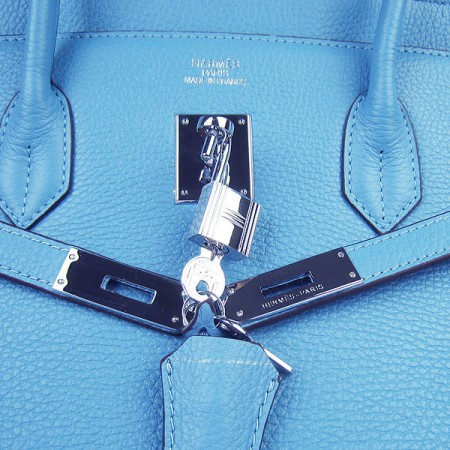 Hermes Birkin 40Cm Togo Leather Handbags Light Blue Silver