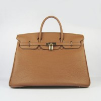 Hermes Birkin 40Cm Togo Leather Handbags Light Coffee Golde