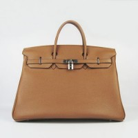 Hermes Birkin 40Cm Togo Leather Handbags Light Coffee Silve