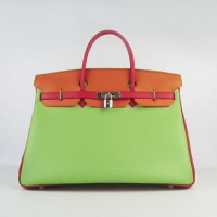 Hermes Birkin 40Cm Togo Leather Handbags Red/Orange/Green Silver